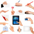 Set of hands holding different business objects Vector illustration — Stock Vector #10355993