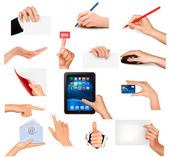 Set of hands holding different business objects Vector illustration — Stock Vector