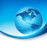 Globo preso em uma esfera do conceito de código binário do vetor de programação global — Vetorial Stock