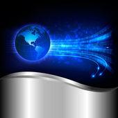 Binärcode fließt hinter der ganzen welt. konzept der globalen programmierung. vektor-hintergrund. — Stockvektor