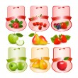 Set of labels with berries and fruit. Vector illustration. — Stock Vector