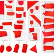 Stock Photo: Big collection of red origami paper banners and stickers Vector illustration