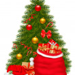 Christmas tree and santa bag with gifts. Vector illustration. — Stock Vector #7994346