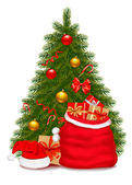 Christmas tree and santa bag with gifts. Vector illustration. — Stock Vector