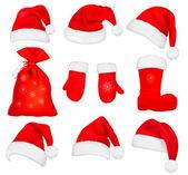 Gran juego de rojo santa sombreros y ropa. ilustración vectorial. — Vector de stock