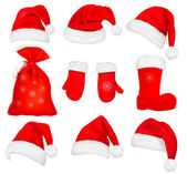Grote verzameling rood santa hoeden en kleding. vectorillustratie. — Stockvector