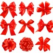 Stok Vektör: Big set of red gift bows with ribbons. Vector.