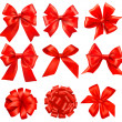 Big set of red gift bows with ribbons. Vector. — ストックベクタ