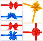 Big set of color gift bows with ribbons. Vector. — Stock Vector