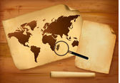 Mapa antigo e papel velho em fundo de madeira. ilustração vetorial. — Vetorial Stock
