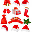 Stock Vector: Big set of red santa hats and clothing. Vector illustration.
