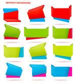 Samling av färgstarka origami papper banners. vektor illustration — Stockvektor