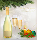 Holiday background with two glasses of champagne and bottle. Vector. — Stock Vector