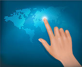 Finger touching world map on a touch screen. Vector. — Stock Vector