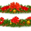 Two holiday christmas garlands. Vector illustration. — Stock Vector
