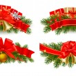 Set of holiday christmas garlands with red ribbons. Vector. — Vecteur #8265644
