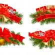 Set of holiday christmas garlands with red ribbons. Vector. - Stock Vector