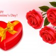 Valentine background. Red roses and a box in the shape of heart. Vector ill — Stock Vector