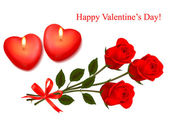 Valentine background. Red roses and two heart candles. Vector. — Stock Vector
