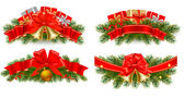 Set of holiday christmas garlands with red ribbons. Vector. — Stock Vector