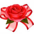 Valentine`s day background. Red rose with gift red bow. Vector illustration - Stock Vector