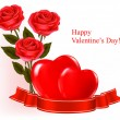 Valentine`s day background. Red roses and gift red bow. Vector illustration — Διανυσματικό Αρχείο