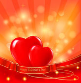 Valentine`s day background with two red hearts and ribbons. Vector. — Wektor stockowy