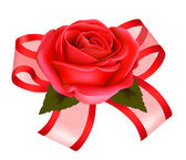 Valentine`s day background. Red rose with gift red bow. Vector illustration — Vettoriale Stock