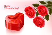 Valentine`s day background. Red roses and gift red box. Vector illustration — Stock Vector