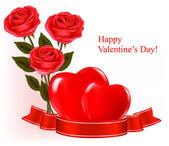 Fondo de San Valentín. rosas rojas y lazo rojo de regalo. ilustración vectorial — Vector de stock