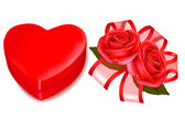 Valentine`s day background. Red roses and gift red bow. Vector illustration — Vector de stock