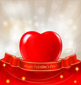 Valentine`s day background with red heart and ribbons. Vector. — Wektor stockowy