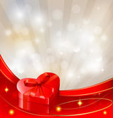 Valentine`s day background with red gift box with bow and ribbons. Vector. — Stock Vector