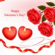 Valentine`s day background. Red roses and two heart candles. Vector. — Stock Vector