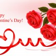 Valentine`s day background. Two red hearts with a ribbon. Vector illustrati — Διανυσματικό Αρχείο