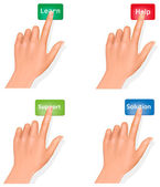 Set of hands pushing different buttons and thumb up. Vector. — Stock Vector