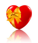 Valentine`s day background. Red heart with a ribbon. Vector illustration. — 图库矢量图片