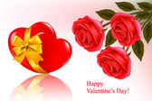 Valentine`s day background. Two red hearts with a ribbon. Vector illustrati — Cтоковый вектор