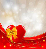 Valentine`s day background. Two red hearts with a ribbon. Vector illustrati — Wektor stockowy