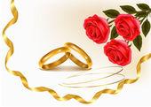 Achtergrond met bruiloft ringen en rozen boeket. vectorillustratie. — Stockvector