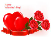 Valentine`s day background. Three red roses with two hearts and ribbon. Vec — Vector de stock