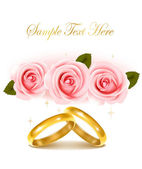 Background with wedding rings and roses bouquet. Vector illustration. — Stock Vector