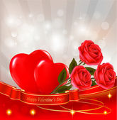 Valentine`s day background. Red roses and gift red bow. — Stock Vector
