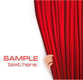 Backgrounds with red velvet curtain. — Stock Vector