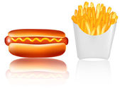 Hotdog and french fries. Vector. — Stock Vector