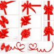 Big set of red gift bows with ribbons. — Stockvector