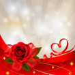 Valentine`s day background. Red rose with gift red bow. Vector illustration — 图库矢量图片