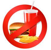 étiquette de danger des fast-food. illustration vectorielle. — Vecteur