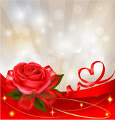 Valentine`s day background. Red rose with gift red bow. Vector illustration — Stok Vektör