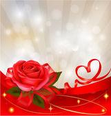 Valentine`s fondo del día. rosa roja con lazo rojo de regalo. ilustración vectorial. — Vector de stock
